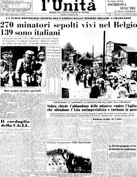Il giornale l'Unità riporta la notizia della tragedia avvenuta a Martinelle in Belgio nel 1956.