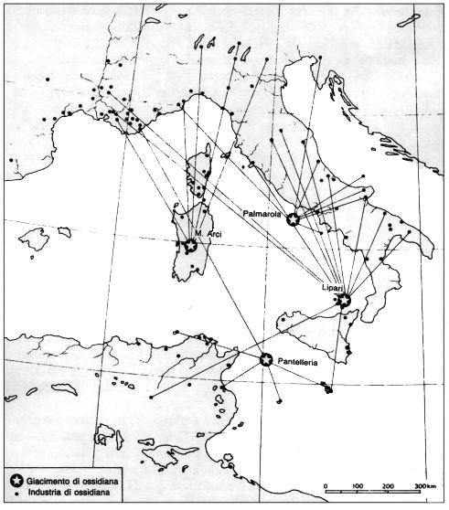 Fig. 1: Carta delle direttrici di distribuzione dell'ossidiana.