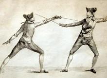stampa del 1763 sulle posizioni della scherma