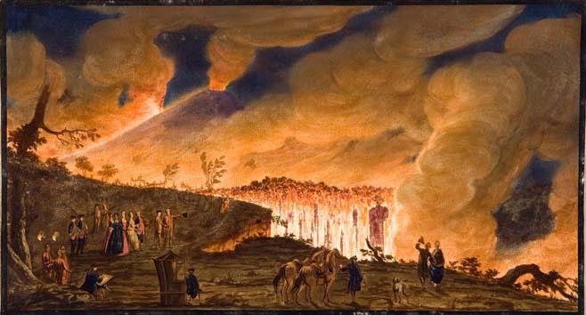 Hamilton, in compagnia della famiglia reale napoletana, osserva il fiume di lava che precipita verso Resina. Peter Fabris