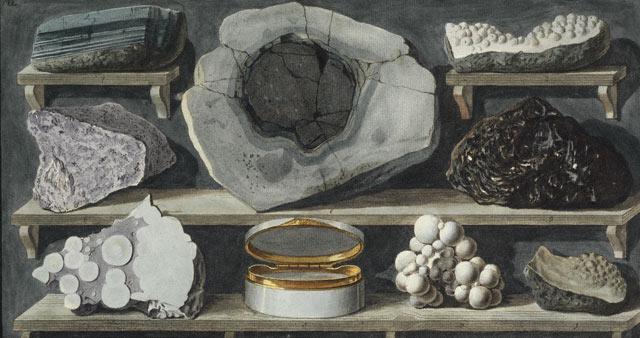 Campioni di rocce ritrovate sul Vesuvio, Tavola XLVIII in, Campi Phlegraei di Sir William Hamilton.