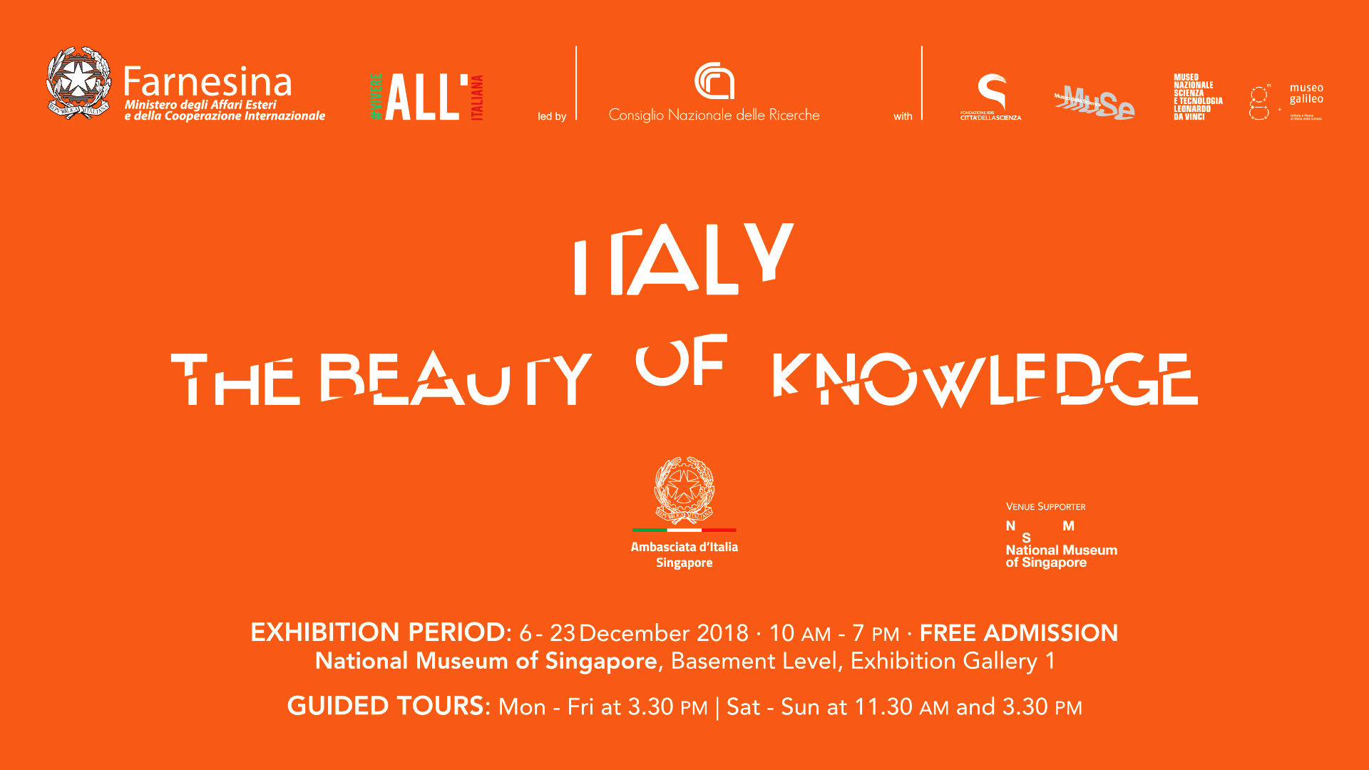 66cac76e78 Italy: the Beauty of Knowledge |SINGAPORE – National Museum of Singapore 6  – 23 december 2018