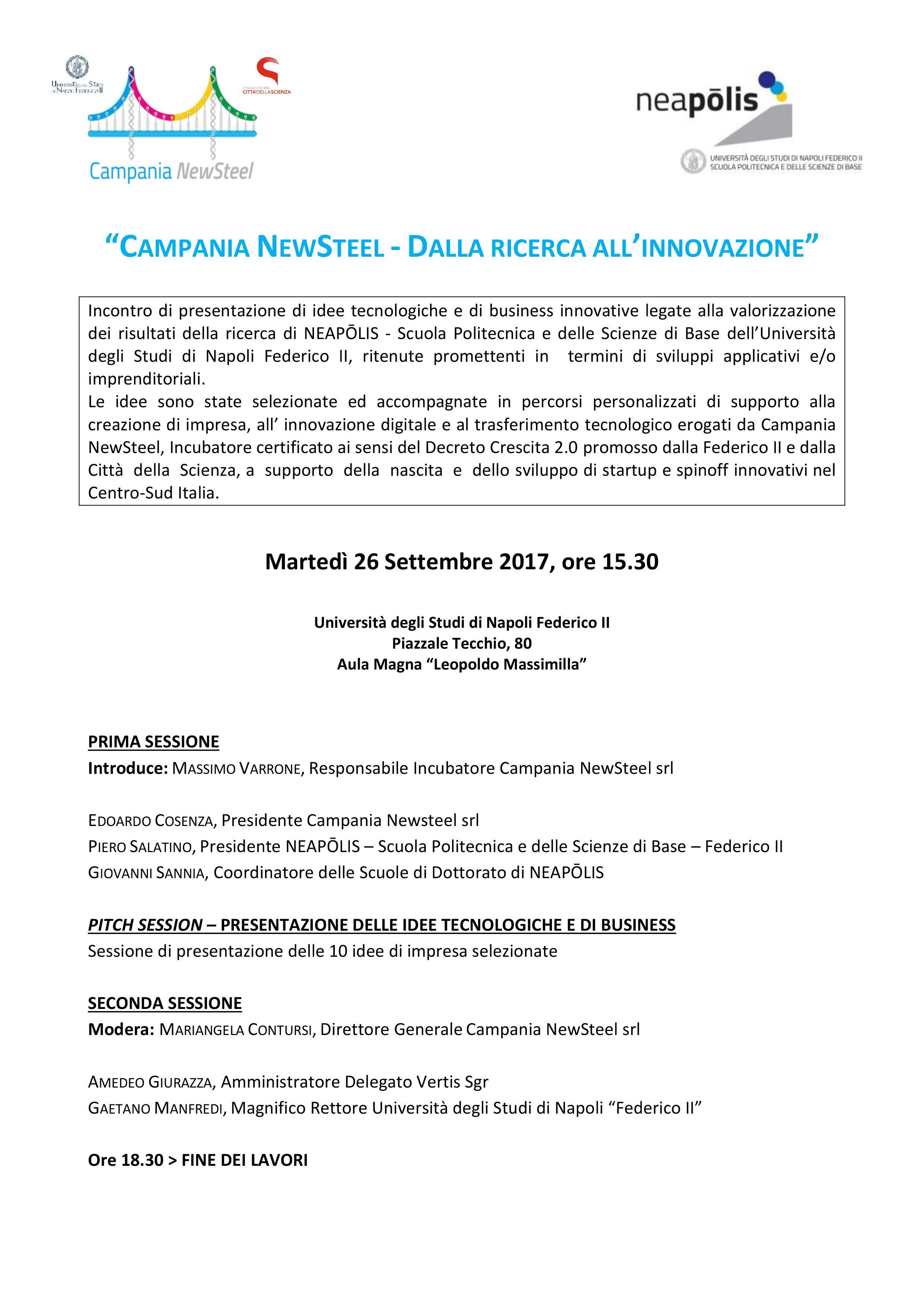 Programma Campania NewSteel dalla ricerca all'innovazione